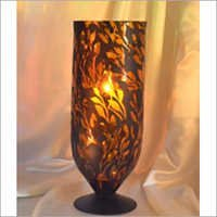 Leaf Pattern Glass Candle Holder