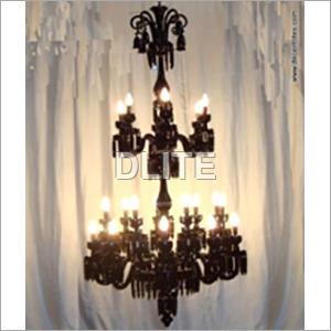 12 Arm Black Glass Chandelier