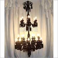 12 Arm Black Glass Chandelier