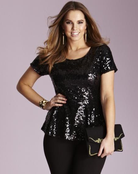 Black Sequin Blouses Tops for Plus Size Girls