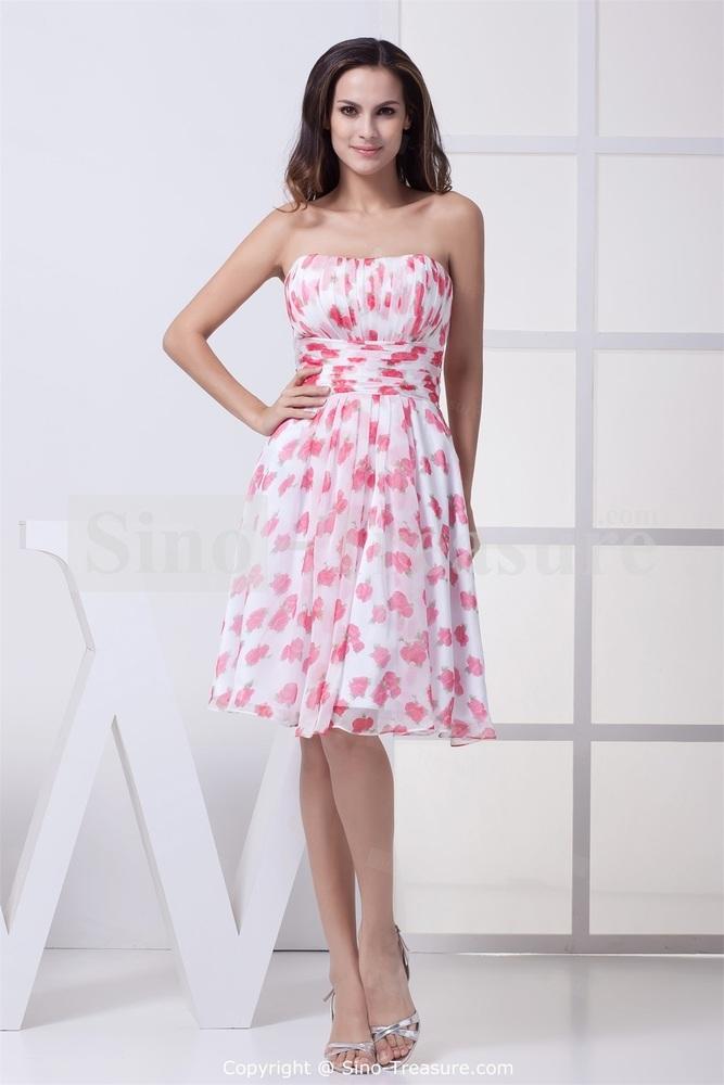 Rose Printed Chiffon Strapless A line Knee length Spring Bridesmaid Dress
