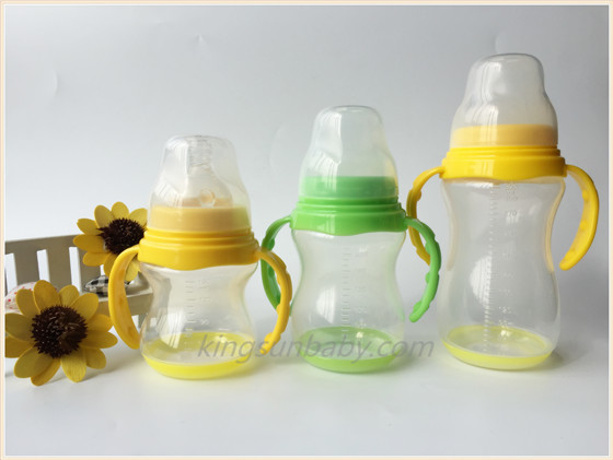 Wide neck PP baby bottle with handle and base