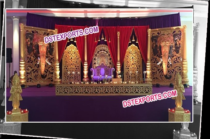 Royal Wedding Golden Carved Stage Set