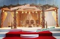 Hand Carved Wooden Wedding Mandap Set