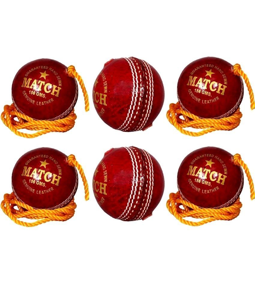 APG String Red Leather Cricket Ball