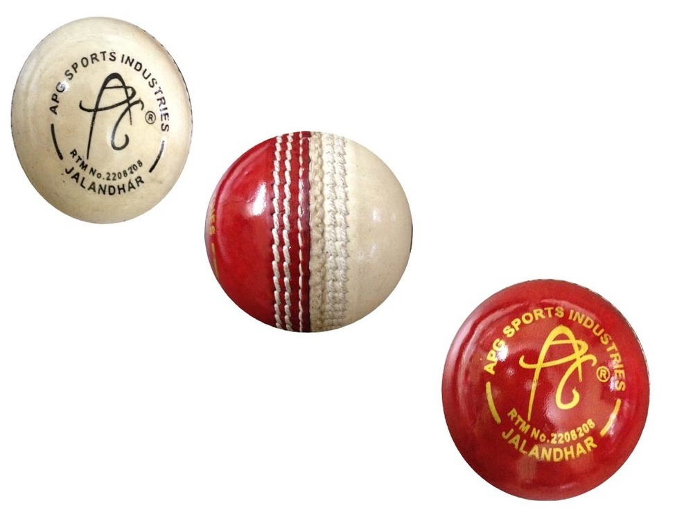 APG Red & White Practice Red Leather Cricket Ball