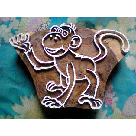 Monkey wooden printing stamps for printing on fabric (3 pcs pack)