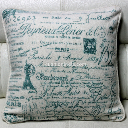 Vintage Writing Printed Cotton Cushion Cover