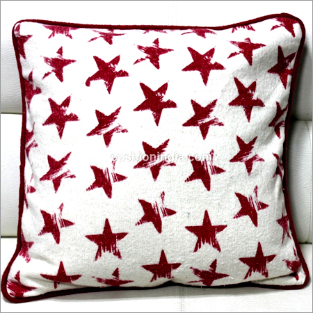 Red Star Printed  Soft feel Christmas Cushion with Red back & Piepin