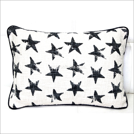 Star - Black Printed  Premium Cotton  Fabric Cushion Cover