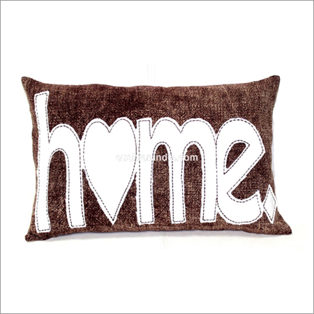 HOME  written Hand Stitched  Cotton Cushion Cover