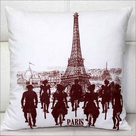 Paris Cycling Theme Printed Cotton Cushion Cover