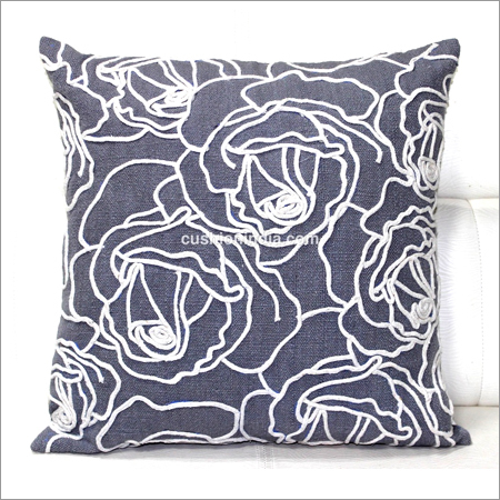 Rose Flower Thread Stitched Cotton Cushion Cover