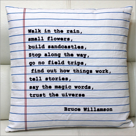 Poem Writing & Blank Page Cotton Cushion Cover
