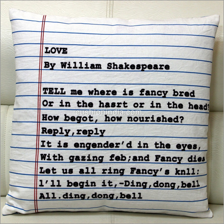 Poem Written  Front & Back  Blank Page  Cotton Cushion