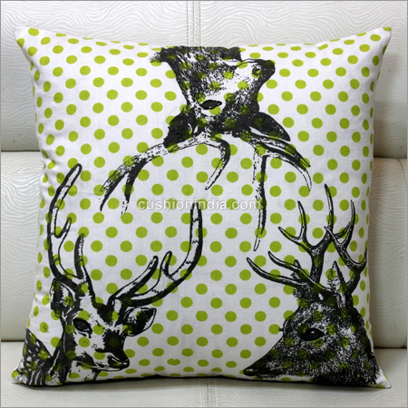Stag Heads Printed Designer  Cushion Cover