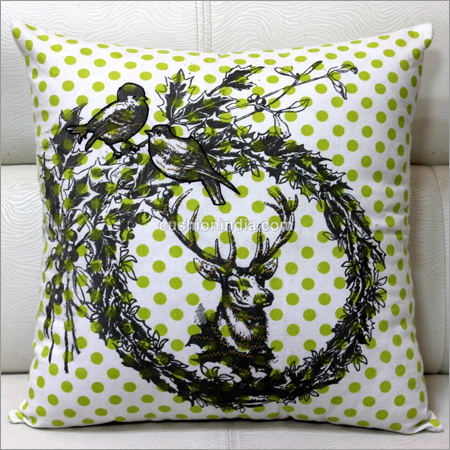 Deer Head Designer Wreath  Printed  Cotton Cushion