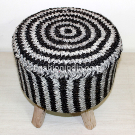 Stripe Hand Weaved Woolen Fabric  Wooden Seater