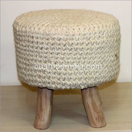Woolen Weaved Single Wooden Seater