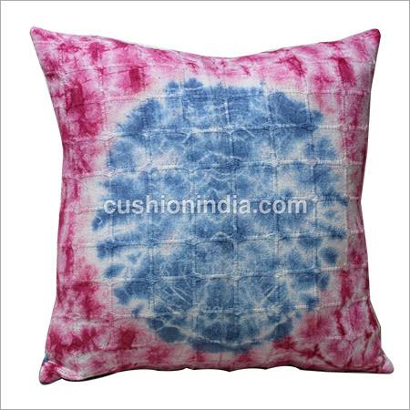 Indigo Blue Circle & Pink Tye /Dye Printed Cushion Cover