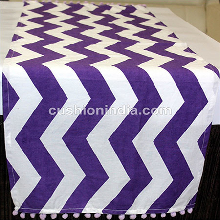 Purple  Ikat Wave  Printed  Cotton Table  Runner  with Pompom
