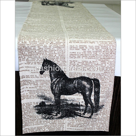 Horse Theme Writing Printed  Soft  Cotton Fabric  Runner