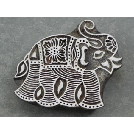 wooden printing stamps large elephant design 2 pcs set for fabric print