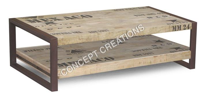 Iron Wooden Under Shelf Coffee Table