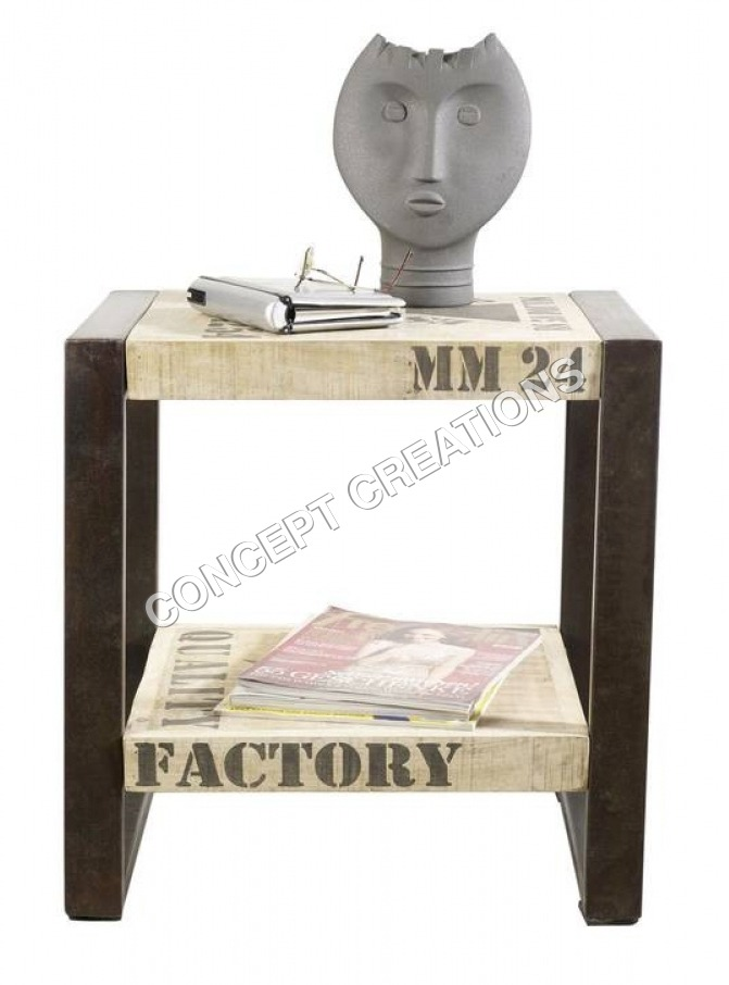 Iron Wooden End Table
