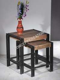 Iron Wooden Stool Set of 2