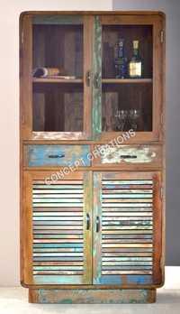 Reclaimed Wooden Glass Almirah
