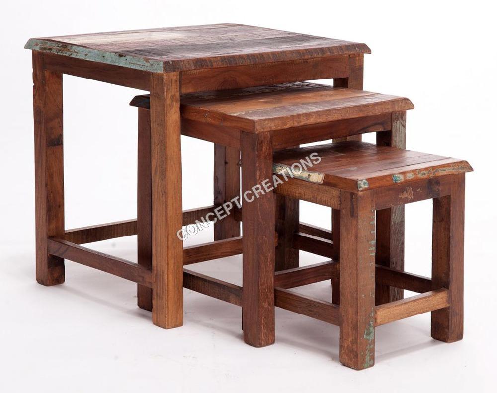 Reclaimed Wooden Stool Set of 3