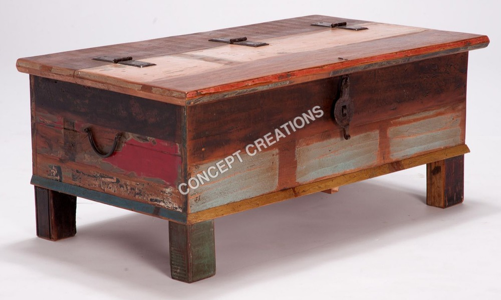 Reclaimed Wooden Coffee Table Cum Box