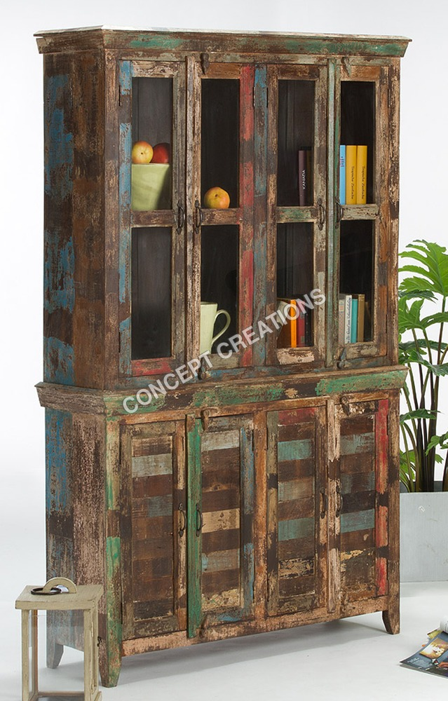 Reclaimed Wooden Glass Cabinet