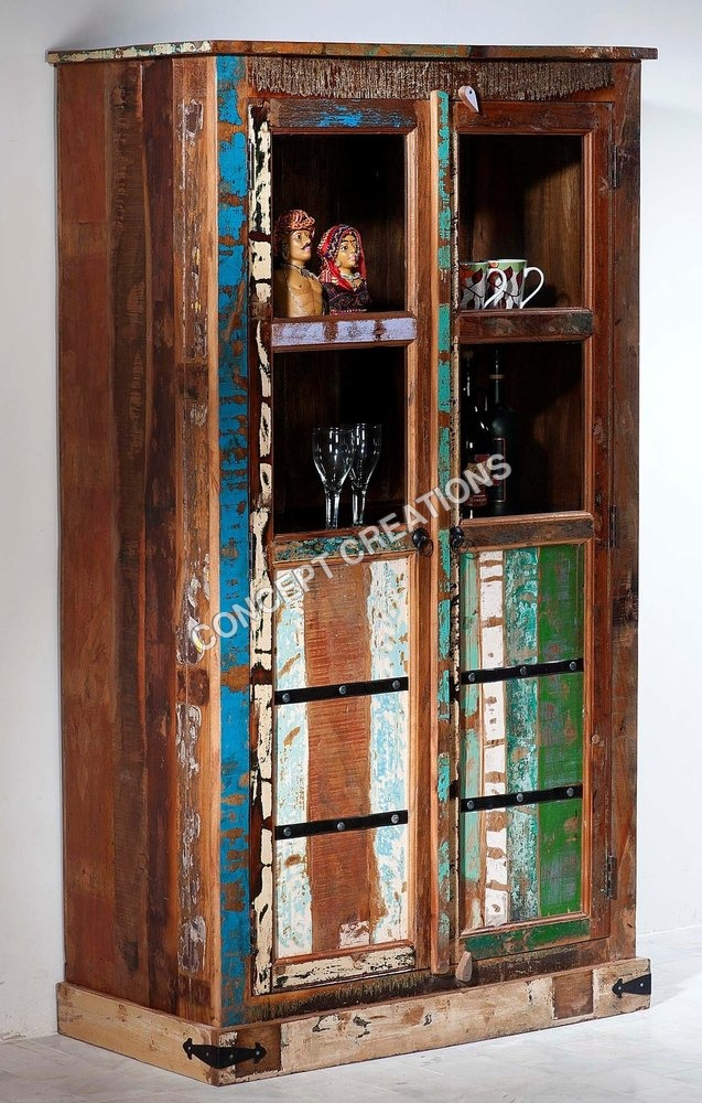 Reclaimed Wooden Glass Almirah