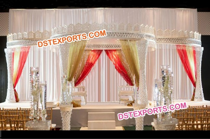 Wedding Fiber Crystal Mandap With Top Crown