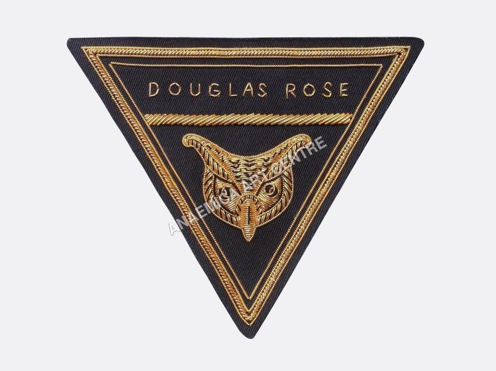 Douglas Road triangular  blazer badge gold bullion