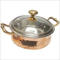 Copper Steel Serving Dish With Glass Lid CSSD - 903