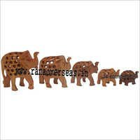 WJE - 1001 WOODEN UNDERCUT ELEPHANT SET OF 5 PCS