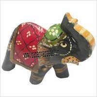 WJE - 1038 WOODEN PAINTED ELEPHANT