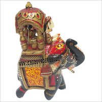WJE - 1041 WOODEN PAINTED ELEPHANT