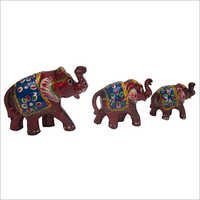 WJE-1007  Wooden Painted Thick Elephant Set 3 pcs