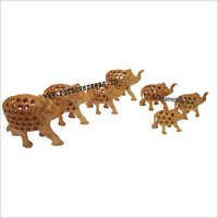 WJE-1019 Wooden Under cut Elephant Long  Set 7 pcs