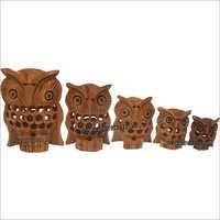 WJO-1003 Wooden Under cut Owl  Set 5 Pcs
