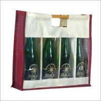 Four Bottle Jute Wine Bag