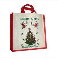 Printed Jute Christmas Bags