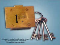 8 Lever C I D Inter Lock Brass SS 4 Keys