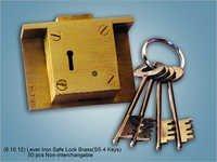 Lever Iron Safe Lock Brass ss 4 Keys
