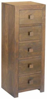 WOODEN 5 DRAWER TALL CHEST