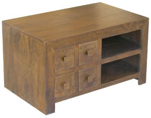 Wooden 4 Drawer Tv/dvd Unit